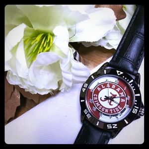 Alabama roll tide black leather watch